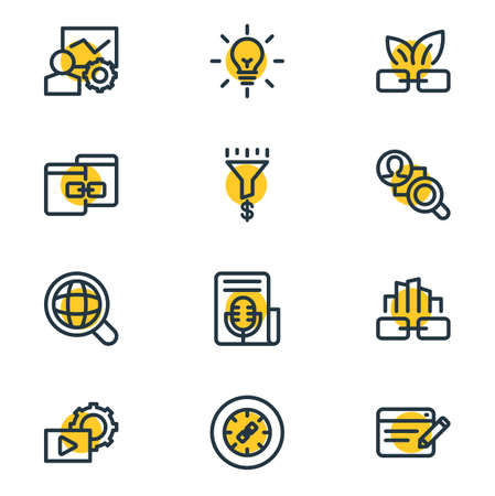 Vector illustration of 12 advertisement icons line style. Editable set of global search, link building, competitor analysis and other icon elements.