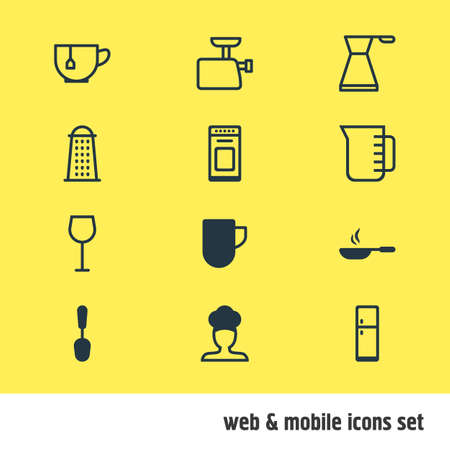 Vector illustration of 12 restaurant icons. Editable set of skillet, coffee mug, grater and other icon elements.