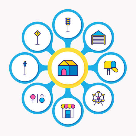 Vector illustration of 9  icons colored line. Editable set of garage, post box, street light and other icon elements.