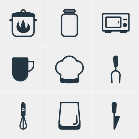 Vector illustration of 9 cooking icons. Editable set of coffee mug, water glass, cooking hat and other icon elements.