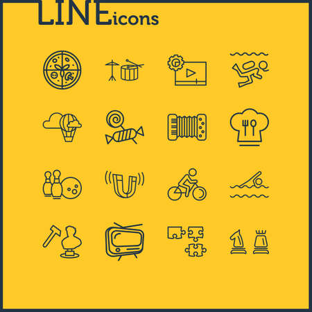 illustration of 16 lifestyle icons line style. Editable set of drums, sculpting, accordion and other icon elements.