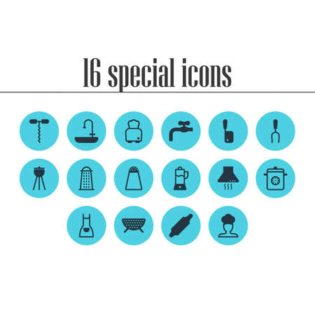 illustration of 16 restaurant icons. Editable set of sink, juicer, corkscrew and other icon elements.