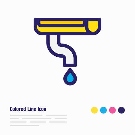 illustration of gutter icon colored line. Beautiful architecture element also can be used as downspout icon element.