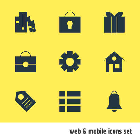 illustration of 9 web icons. Editable set of alarm, tag, tasks and other icon elements.