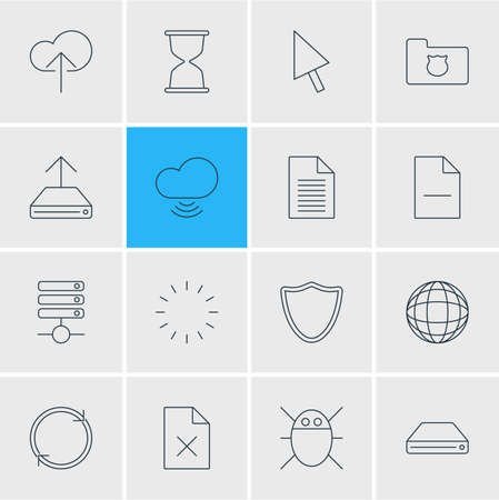illustration of 16 web icons line style. Editable set of database, data upload, remove file and other icon elements. Imagens