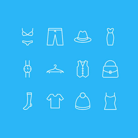 illustration of 12 dress icons line style. Editable set of evening dress, panama, watch and other icon elements. Stockfoto