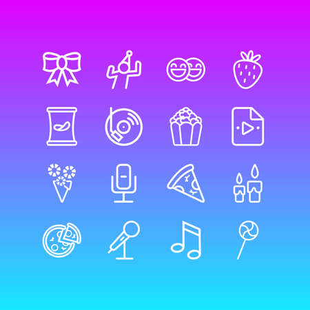 illustration of 16 event icons line style. Editable set of dj music, popcorn, recording mic and other icon elements.