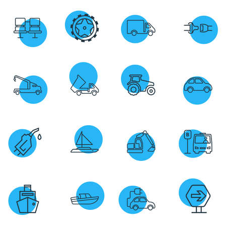 Vector illustration of 16 transportation icons line style. Editable set of tractor, crane truck, car and other icon elements.