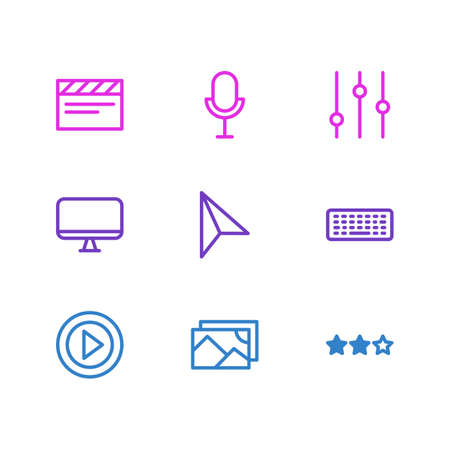 Vector illustration of 9 music icons line style. Editable set of monitor, microphone, star and other icon elements. 일러스트