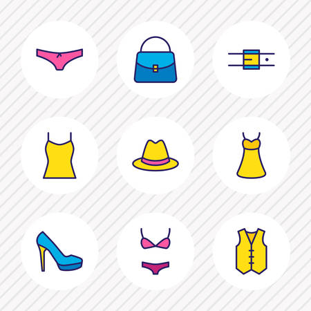 Vector illustration of 9 dress icons colored line. Editable set of bag, underwear, belt and other icon elements.  イラスト・ベクター素材