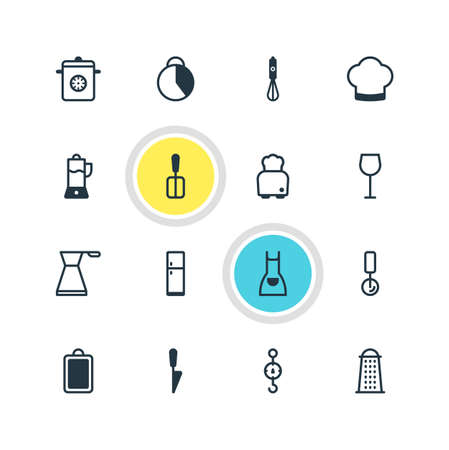 illustration of 16 restaurant icons. Editable set of blender, juicer, stopwatch and other icon elements.