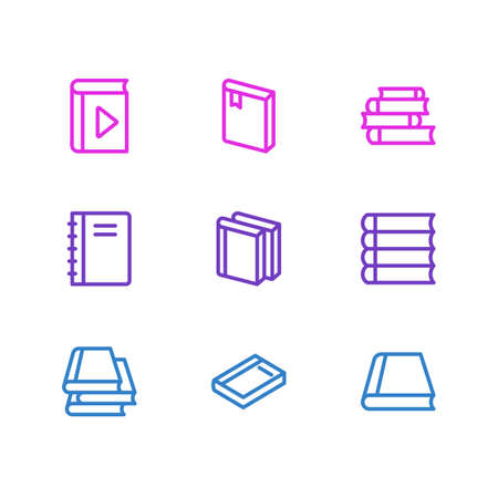illustration of 9 education icons line style. Editable set of player, lecture, dictionary and other icon elements.