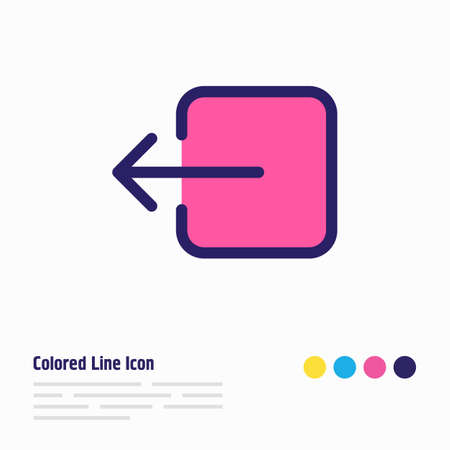 Vector illustration of sign out icon colored line. Beautiful application element also can be used as exit icon element.