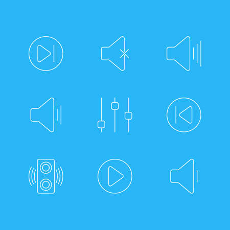 illustration of 9 melody icons line style. Editable set of mute, loudspeaker, volume down and other icon elements.