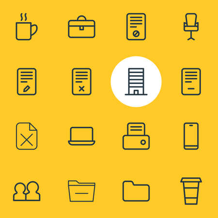 illustration of 16 workplace icons line style. Editable set of laptop, deleting, directory and other icon elements.
