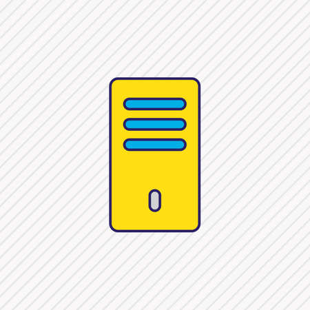 illustration of processor icon colored line. Beautiful laptop element also can be used as computer case icon element.