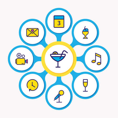 illustration of 9 event icons colored line. Editable set of video camera, love letter, event day and other icon elements.