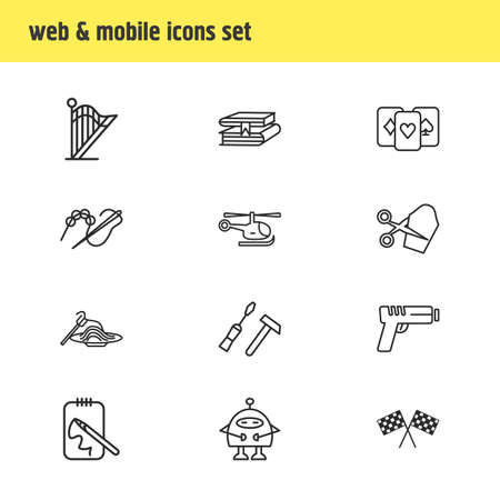illustration of 12 activities icons line style. Editable set of beading, carpentry, playing cards and other icon elements.