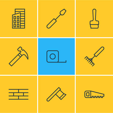 Vector illustration of 9 construction icons line style. Editable set of handsaw, ruler, brick wall icon elements.