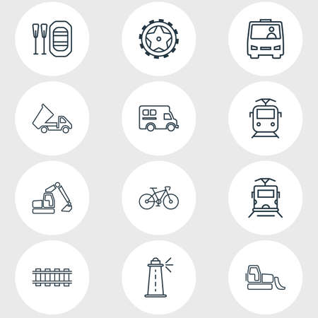 Vector illustration of 12 carrying icons line style. Editable set of dump truck, railway, tyres and other icon elements.