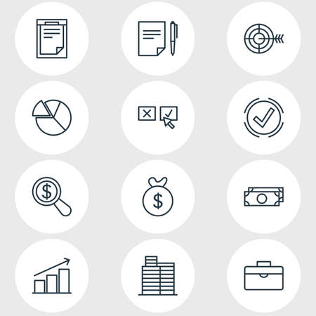 illustration of 12 business icons line style. Editable set of decision, deside task, contract and other icon elements. 免版税图像