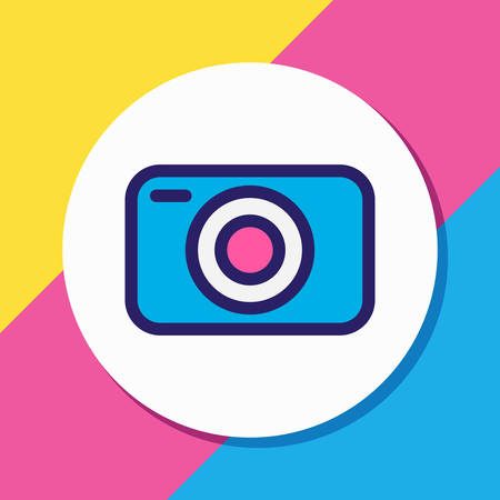 Vector illustration of camera icon colored line. Beautiful annex element also can be used as capture icon element.
