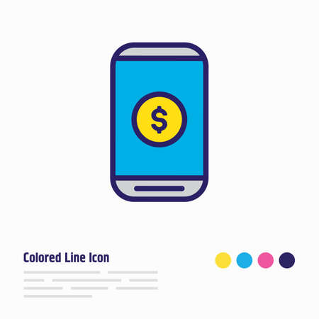 Vector illustration of mobile payment icon colored line. Beautiful wholesale element also can be used as e-commerce icon element.