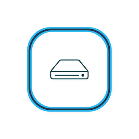 Vector illustration of hard drive icon line. Beautiful gadget element also can be used as memory storage icon element.