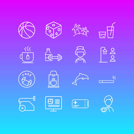 Vector illustration of 16 vacation icons line style. Editable set of drink, vacuum cleaner, hotel maid and other icon elements.