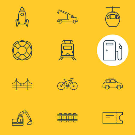 Vector illustration of 12 transport icons line style. Editable set of gas station, bike, railway and other icon elements.