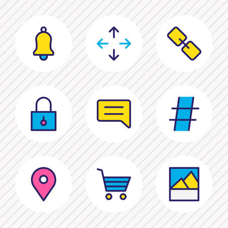 illustration of 9 annex icons colored line. Editable set of buying cart, hashtag, link and other icon elements. 版權商用圖片