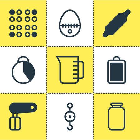 Vector illustration of 9 restaurant icons. Editable set of hand mixer, egg split, scales icon elements. Illustration