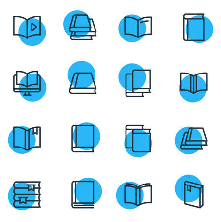 Vector illustration of 16 read icons line style. Editable set of bookstore, bookmarking, tutorial and other icon elements. Vectores