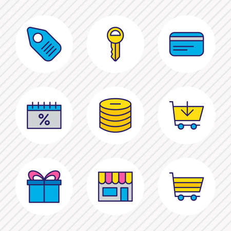 Vector illustration of 9 wholesale icons colored line. Editable set of credit card, gift, sales day and other icon elements.