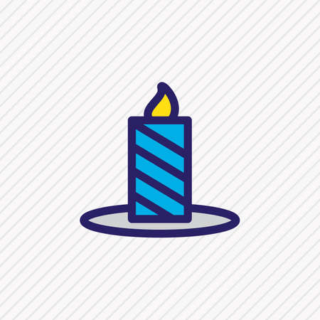 illustration of candle icon colored line. Beautiful holiday element also can be used as paraffin icon element.