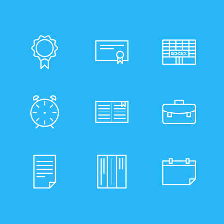 illustration of 9 science icons line style. Editable set of calendar, certificate, building and other icon elements.