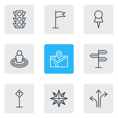 illustration of 9 location icons line style. Editable set of read sign, navigation, compass and other icon elements. 版權商用圖片