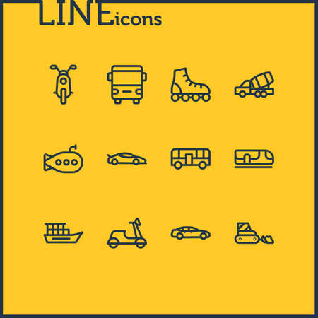 Vector illustration of 12 vehicle icons line style. Editable set of underground, roller skates, submarine and other icon elements.