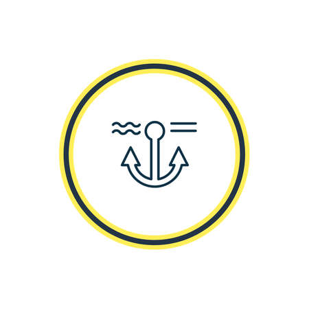 Vector illustration of anchor icon line. Beautiful sea element also can be used as naval icon element.
