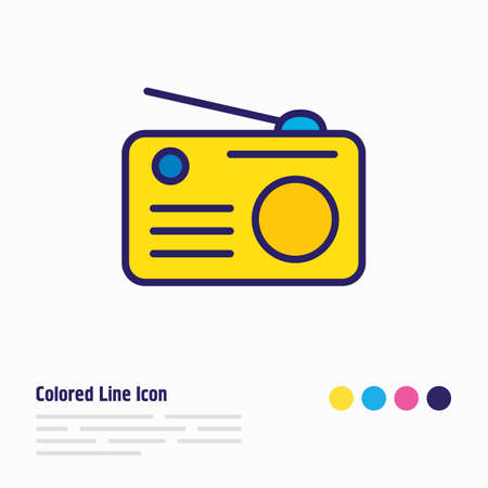 Vector illustration of radio icon colored line. Beautiful activities element also can be used as fm icon element.