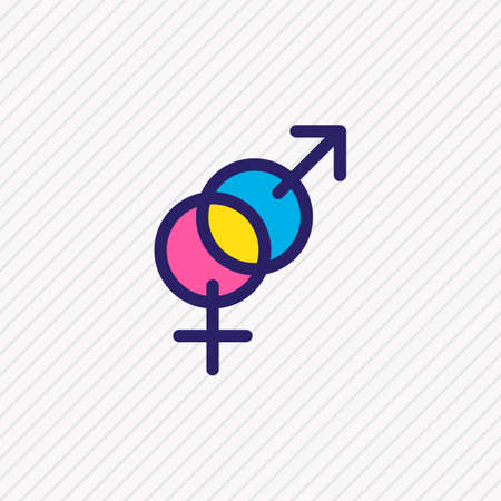 Vector illustration of gender icon colored line. Beautiful holiday element also can be used as sexuality symbol icon element.