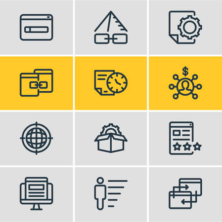 illustration of 12 marketing icons line style. Editable set of link pyramid, service packages, geo targeting and other icon elements. Фото со стока
