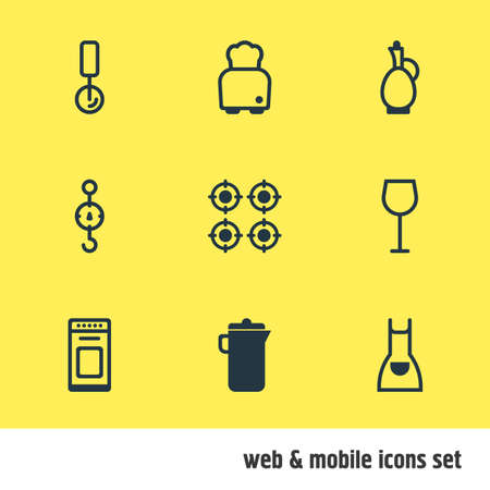 illustration of 9 cooking icons. Editable set of pizza cutter, toaster, apron and other icon elements. Stock Photo