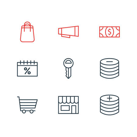 Vector illustration of 9 wholesale icons line style. Editable set of shop, shopping cart, advertisement and other icon elements.