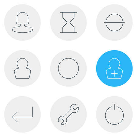 Vector illustration of 9 user icons line style. Editable set of profile, enter, woman member and other icon elements.
