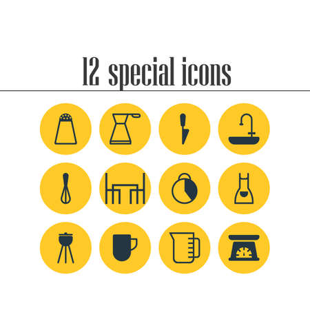 Vector illustration of 12 kitchenware icons. Editable set of dining table, knife, bbq and other icon elements.