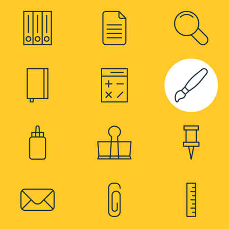 illustration of 12 tools icons line style. Editable set of magnifier, calculator, library and other icon elements.