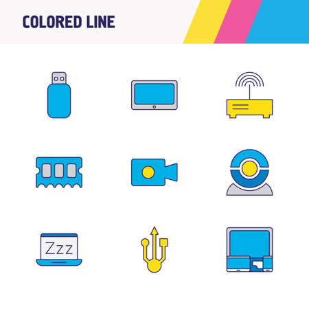 Vector illustration of 9 notebook icons colored line. Editable set of usb, tablet phone, flash drive and other icon elements.