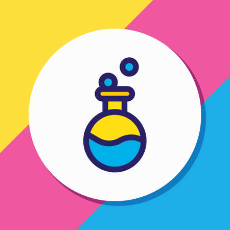 Vector illustration of flask icon colored line. Beautiful entertainment element also can be used as test tube icon element.