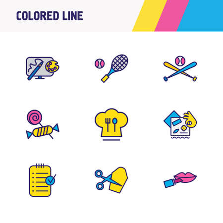 Vector illustration of 9 activities icons colored line. Editable set of tennis, tailoring, candy icon elements.